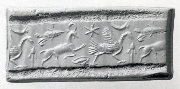 Cylinder seal and modern impression: ostrich, ibex, and fish