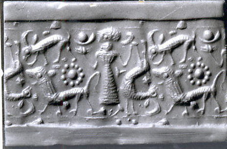 Cylinder seal: female figure, ibex, lion