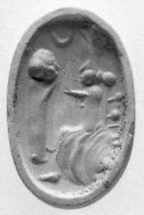 Rib-handled ovoid seal: imitation of bronze-mounted scaraboid