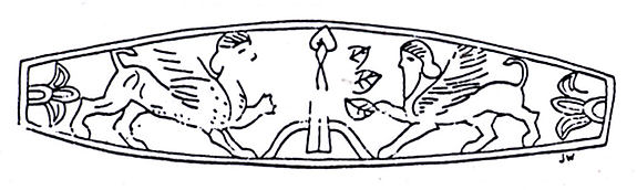 Seal ring and modern impression: two sphinxes flanking a tree
