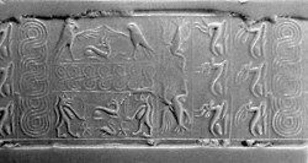 Cylinder seal: rows of animals; falcons flanking goat, Taweret goddesses