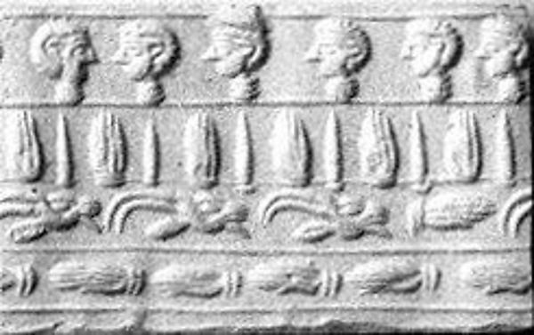 Cylinder seal: four registers: hands, human and goat heads