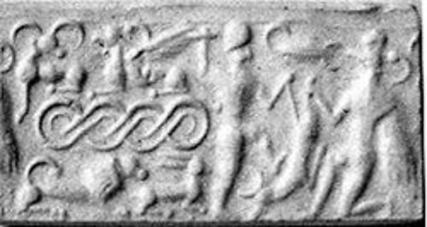 Cylinder seal and modern impression: male and griffin demon slaying animal; terminal: animal attack scenes, guilloche