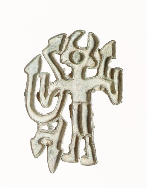 Openwork stamp seal: figure holding snakes