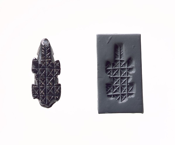 Stamp seal and modern impression: geometric pattern