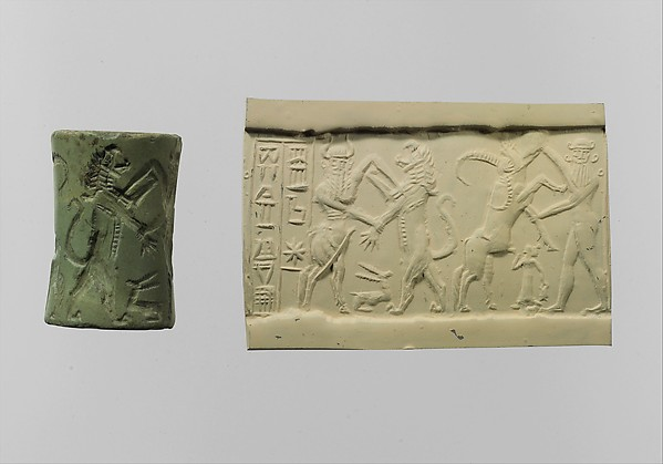 Cylinder seal:  bull-man combatting lion; nude hero combatting water buffalo; inscription