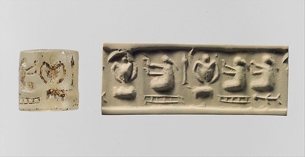 "Cylinder seal: three ""pigtailed"" ladies with double-handled vessels"