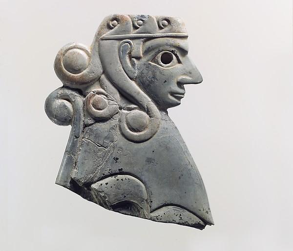 Furniture plaque: female sphinx with Hathor-style curls