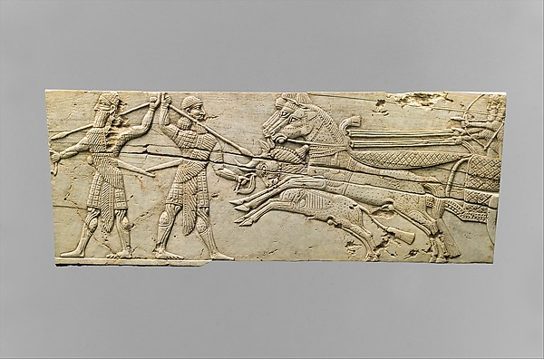 Panel fragments with hunting scenes