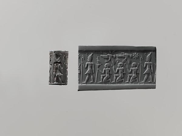 Cylinder seal and modern impression: pharaoh wearing Double Crown, kneeling figures below vultures holding shn symbols; ankh