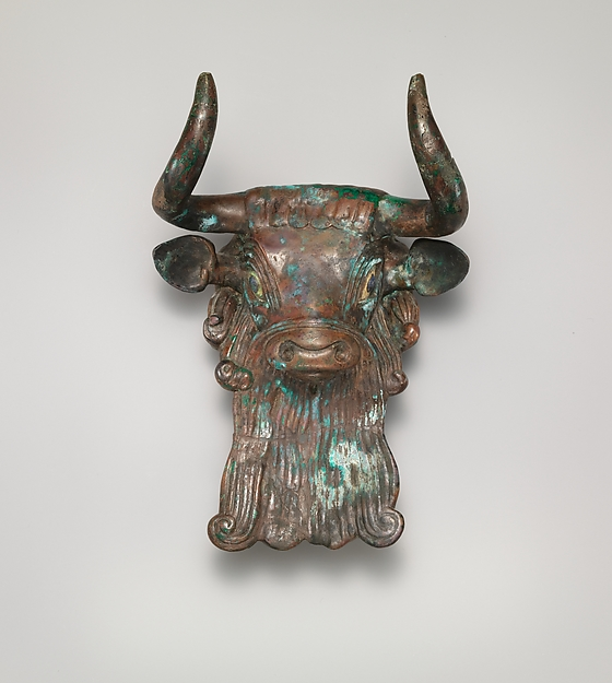 Bull's head ornament for a lyre