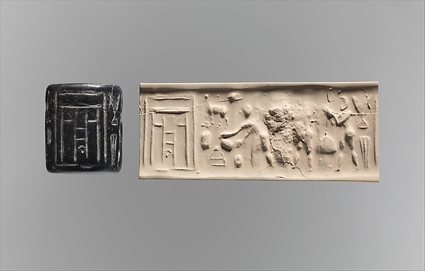 Cylinder seal: ritual scene before a temple facade