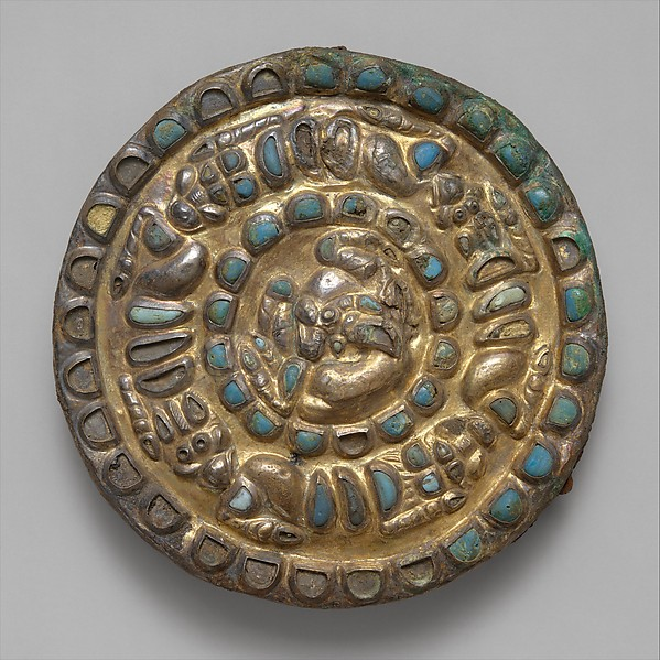 Roundel with a horned animal, lions, and griffins