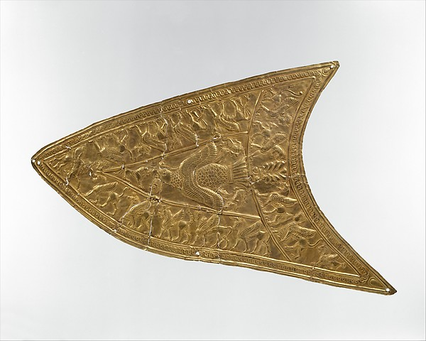 Plaque with a bird of prey and winged beasts