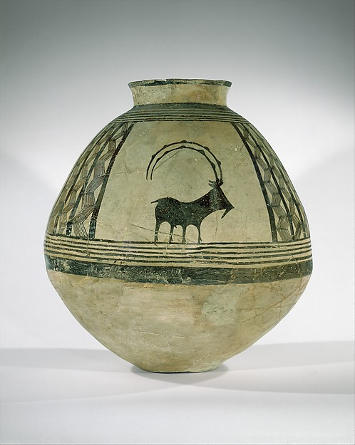 Storage jar decorated with mountain goats