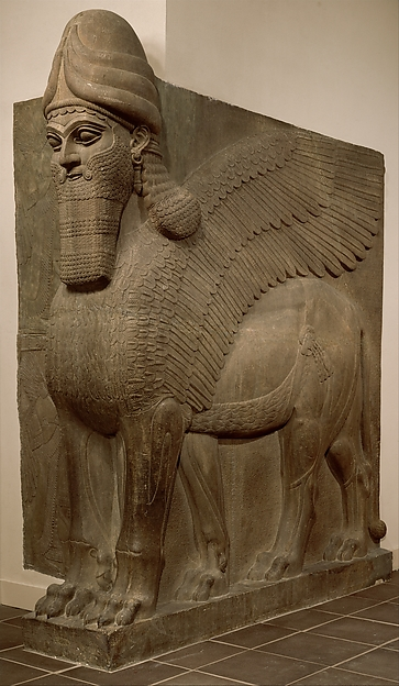 Human-headed winged bull and winged lion (lamassu)