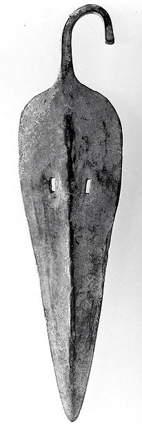 Spearhead with bent tang and slotted blade