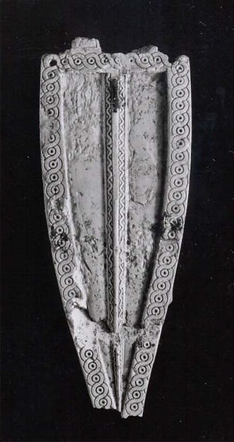 Horse frontlet with an incised guilloche design