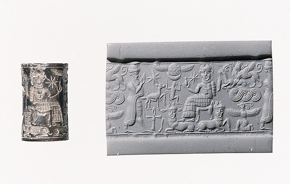 Cylinder seal: royal worshiper before a god on a throne with bulls' legs; human-headed bulls below