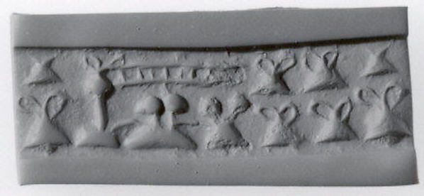 "Cylinder seal and modern impression: ""pigtailed"" ladies in front of loom (?); containers with loop handle"