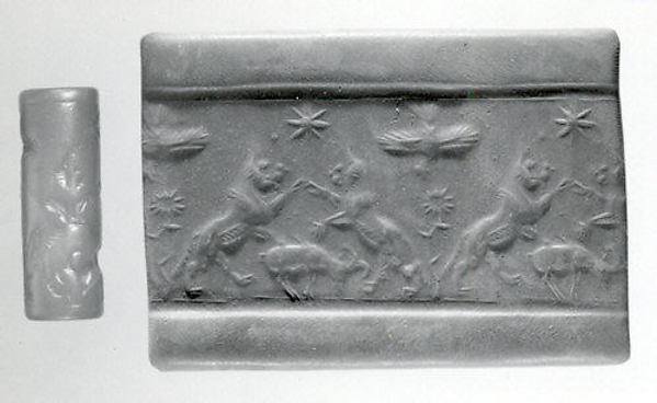 Cylinder seal and modern impression: rampant lions over grazing ram