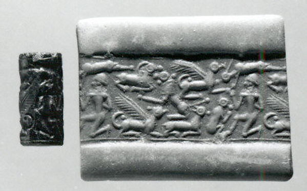 Cylinder seal and modern impression: nude male, griffins, monkey, lion, goat