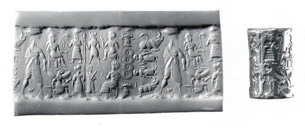 Cylinder seal and modern impression: human figures and demons