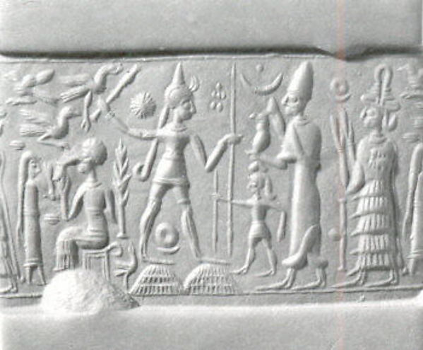 Cylinder seal and modern impression: smiting weather god before king and goddess