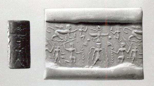 Cylinder seal: bearded deity flanked by kneeling heroes; Horus and monkeys; ibex-demon; sphinx trampling serpents