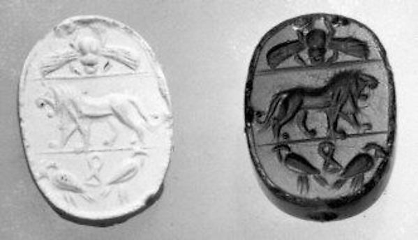 Stamp seal scaraboid and modern impression: roaring lion; winged beetle above, falcons and shn sign below
