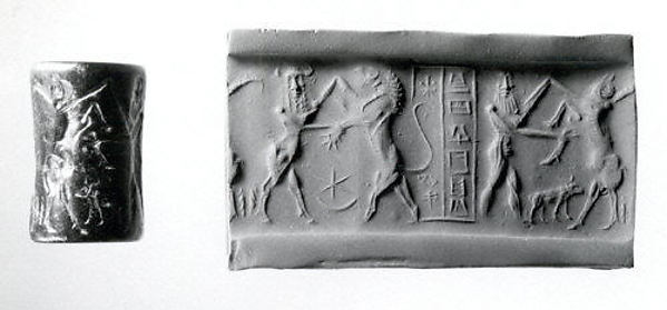 Cylinder seal and modern impression: nude bearded hero wrestling with a water buffalo; bull-man wrestling with lion
