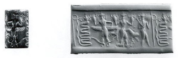 Cylinder seal: snake god and deities with hands and feet in the form of snakes, scorpions, and goats