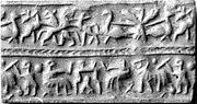Cylinder seal with animal contest and banquet scene