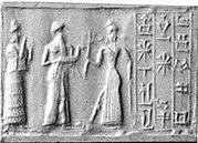 Cylinder seal and modern impression: suppliant goddess and offering bearer approaching Ishtar, three columns of inscription