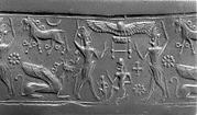 Cylinder seal and modern impression: two bullmen flanking sun-disc; horse, griffin