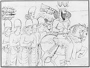 Drawing: Rock relief of Shapur I (r. A.D. 241-272) and members of his court at Naqsh-i Radjab, southern Iran