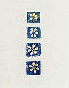 Inlays: white rosettes on blue backgrounds