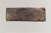 Furniture plaque: incised waterbirds