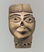 Head of a female wearing a necklace originally filled with colored paste and gold