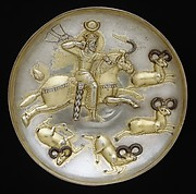 Plate with king hunting rams