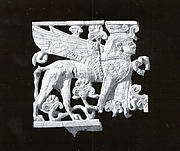 Openwork plaque with a sphinx wearing  a double crown