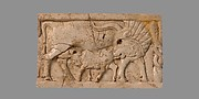 Furniture plaque carved in relief with a cow suckling a calf