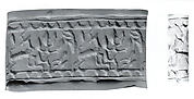 Cylinder seal and modern impression: horned animal and tree