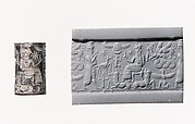 Cylinder seal and modern impression: royal worshiper before a god on a throne with bulls' legs; human-headed bulls below