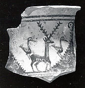 Vessel fragment with a stag flanked by long-necked birds