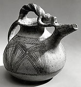 Spouted jar with geometric decoration