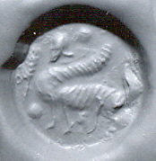 Disc-shaped stamp seal: sphinx with a scorpion tail