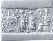 Cylinder seal and modern impression: seated figure approached by a goddess leading a worshiper