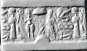 Cylinder seal and modern impression: nude goddess faces a male figure; worshiper
