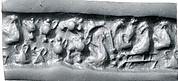 "Cylinder seal: female figure seated on a platform with ""pigtailed"" ladies and pots"